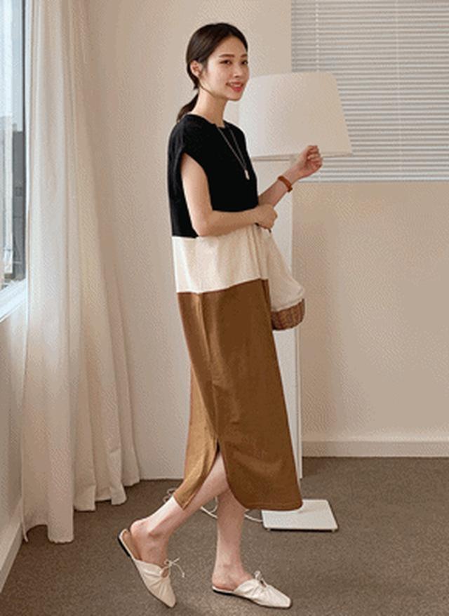 画像: [DHOLIC] 配色ワンピース・全4色ワンピース・スカート|レディースファッション通販 DHOLICディーホリック [ファストファッション 水着 ワンピース]