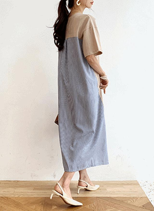 画像: [DHOLIC] ストライプコントラストワンピース・全4色ドレス・ワンピ|レディースファッション通販 DHOLICディーホリック [ファストファッション 水着 ワンピース]