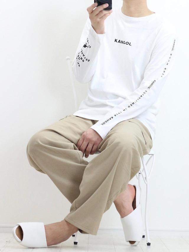 画像: 【KANGOL】KANGOL×A.S.M コラボ USAコットンロングTシャツ 2,598円(税込)【GU】パンツ平均価格1,500〜3,000円
