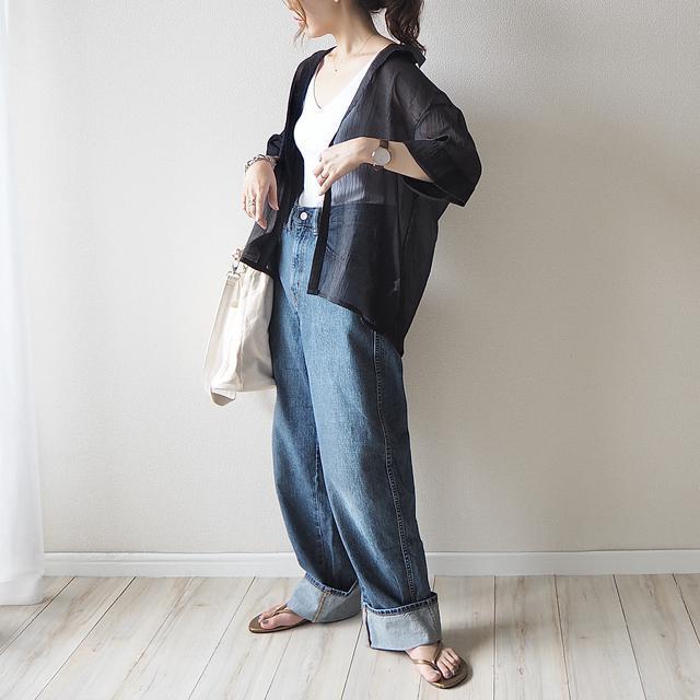 画像2: 【GU】大人気!新作の半袖シアーシャツをさっそく着てみた♪