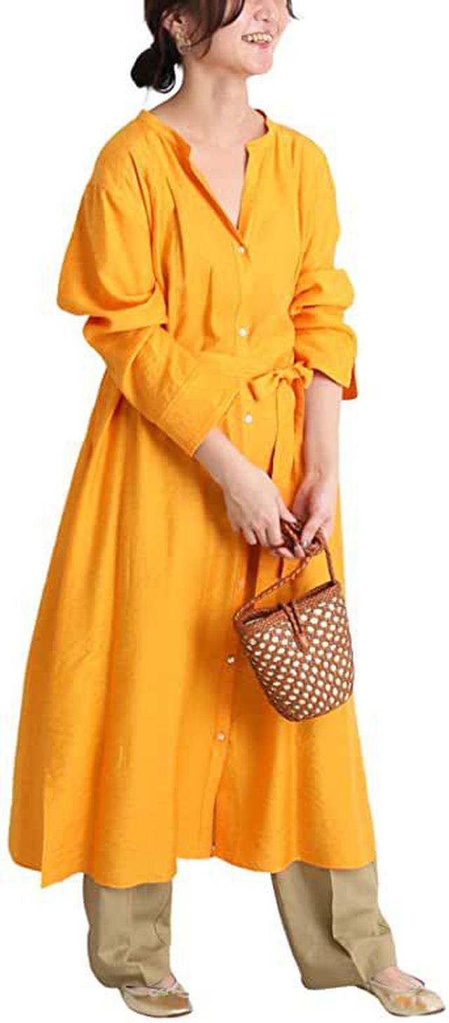 画像: Amazon   [スローブイエナ]リネン混シャツスキッパーワンピース◆ フリー オレンジ   ワンピース・チュニック 通販