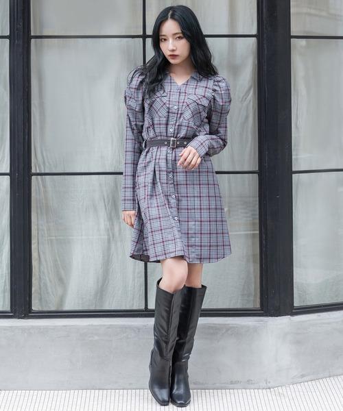 画像: 【ANDGEEBEE】チェックシャツミニワンピ¥11,000(税込)