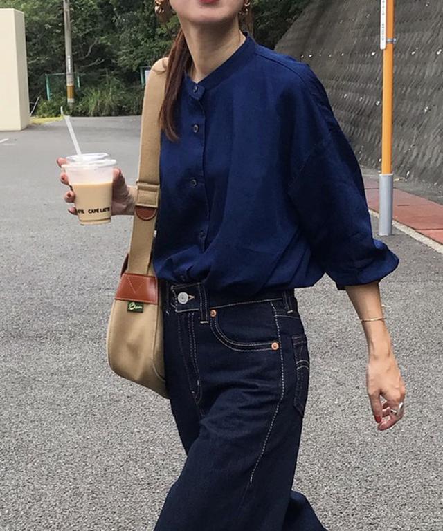 画像: 【無印良品】バンドカラーネイビーシャツ