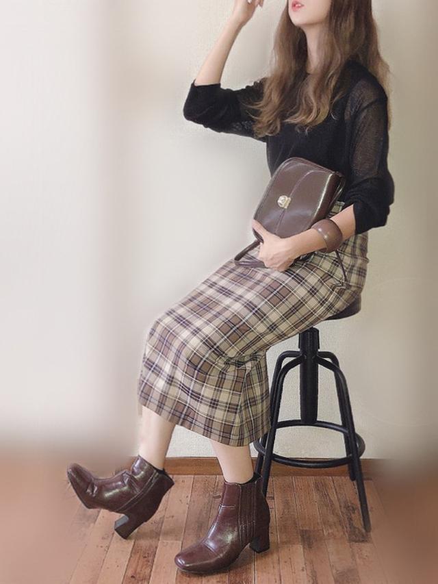 画像: 【GU】チェックナロースカート