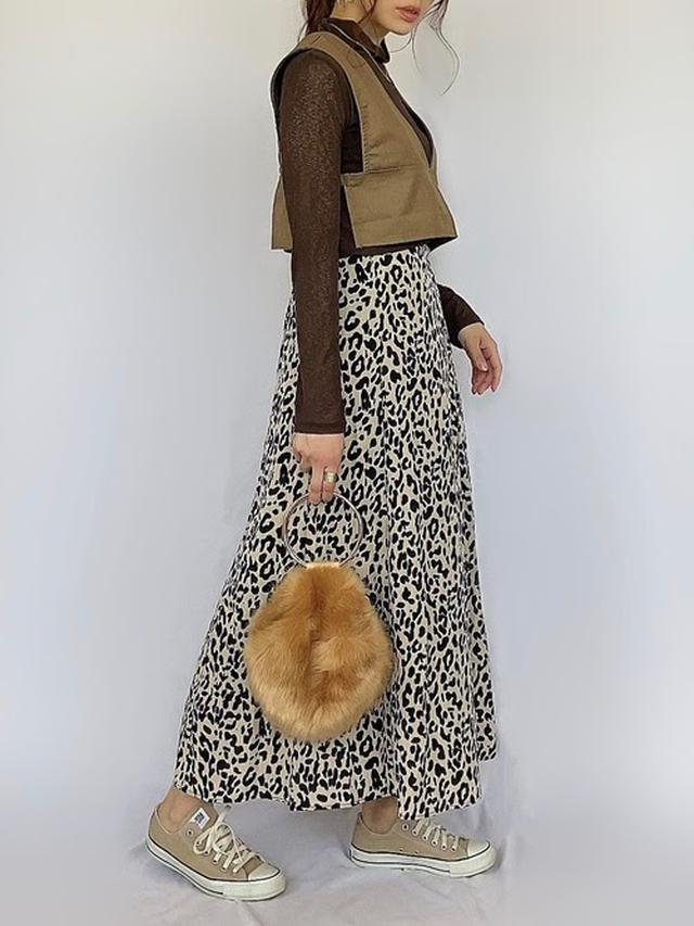 画像: 【ap retro】レオパードフレアロングスカート ¥3,520(税込)