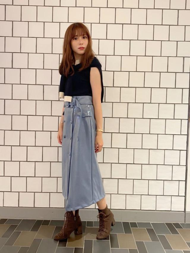画像: 【REDYAZEL】エナメルダブルボタンアシメタイトスカート1万2100円
