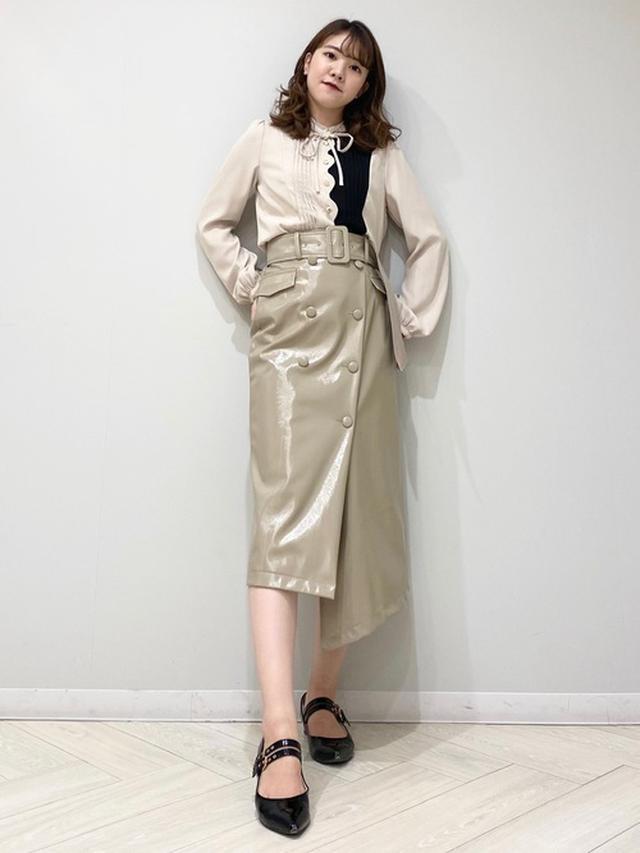 画像: 【REDYAZEL】エナメルダブルボタンアシメタイトスカート1万2100円 スカラップデザイン配色ブラウス6589円
