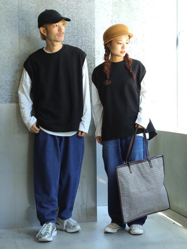 画像: 【koe】スラブサーフニット ベストx Tシャツセット3289円 デニム バルーンパンツ5489円 デニムハイウエストストレート4389円 チェックビッグトート5489円