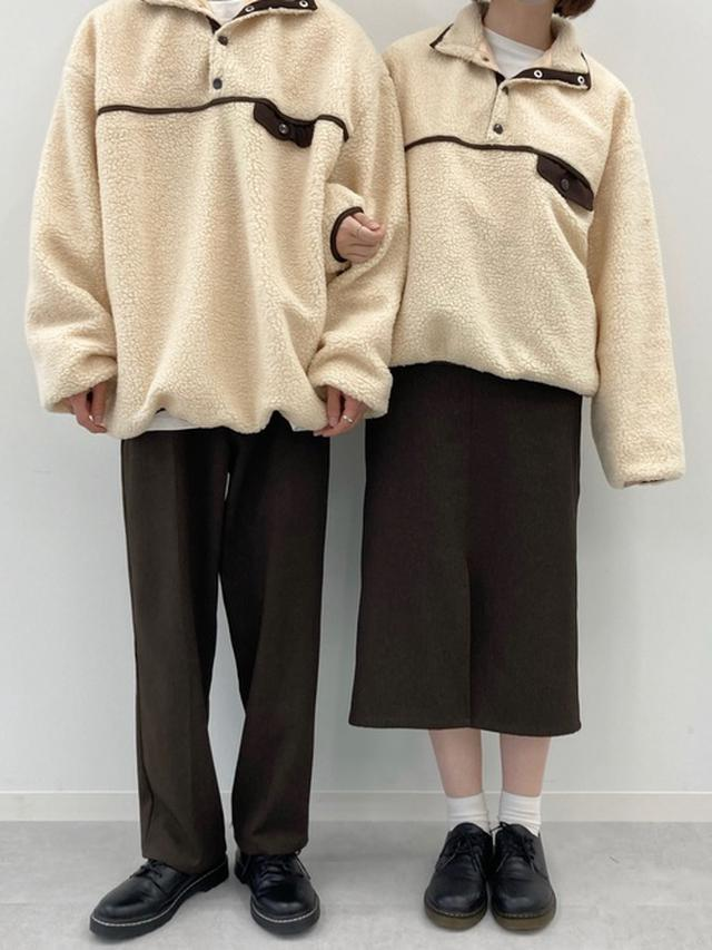 画像: 【PairPair】配色パイピングボアプルオーバー3850円 アンクルツイルパンツ2995円 フロントスリットツイルスカート2595円