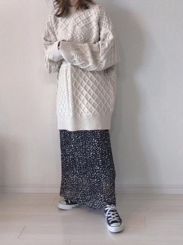 画像: 【select MOCA】ランダムケーブルオーバーニット7370円 【Ciaopanic】スカート7590円