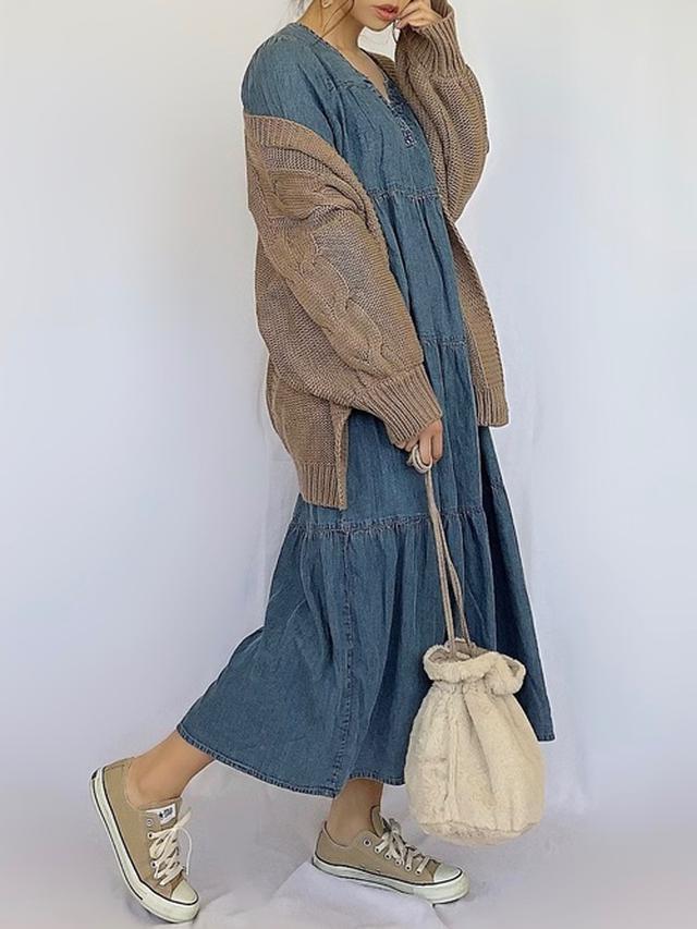 画像: 【3coins】キルティングボア巾着バッグ