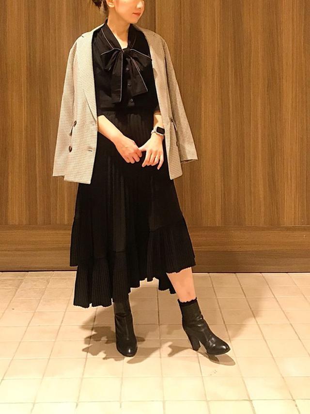 画像: 【NARACAMICIE】ボウタイブラウス プリーツロングスカート