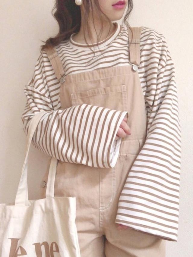 画像: 【Honeys】オーバーオール¥3,035(税込み)ボーダーボクシーフィットTシャツ¥1,518(税込み)