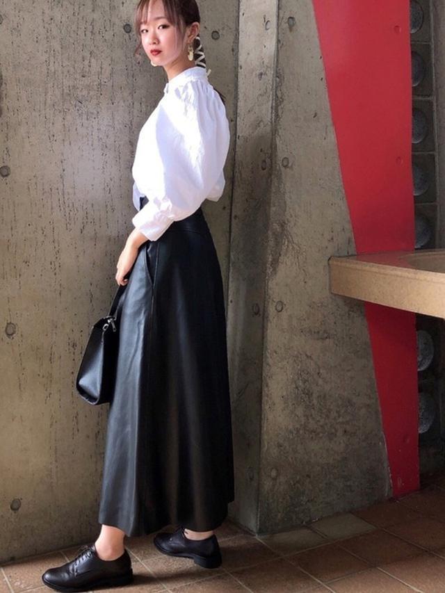 画像: 【ZARA】エコレザーフレアロングスカート