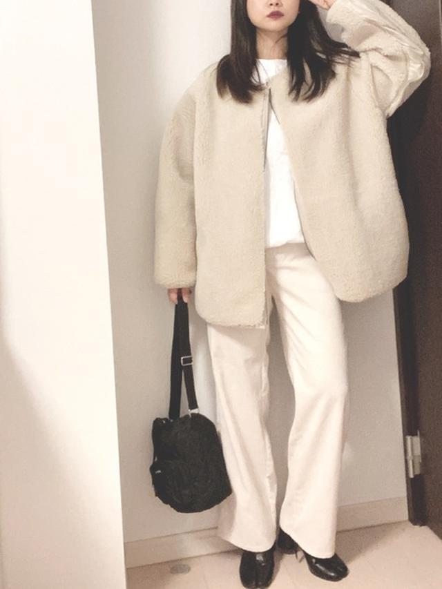 画像: 【niko and...】ボアキルトクルーミリタリージャケット¥7,590(税込)【GU】パンツ平均価格¥1,980~【SVEC】Tabi Boots / タビ ブーツ 足袋ブーツ¥5,500(税込) 出典:WEAR