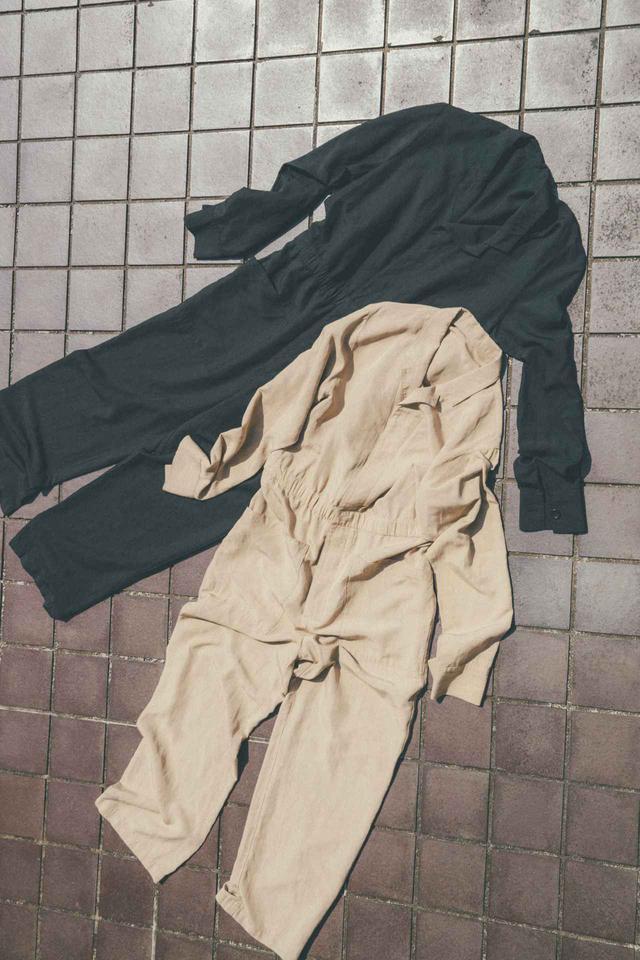 画像: オーバーオール(ブラック、キャメル)各¥28,600