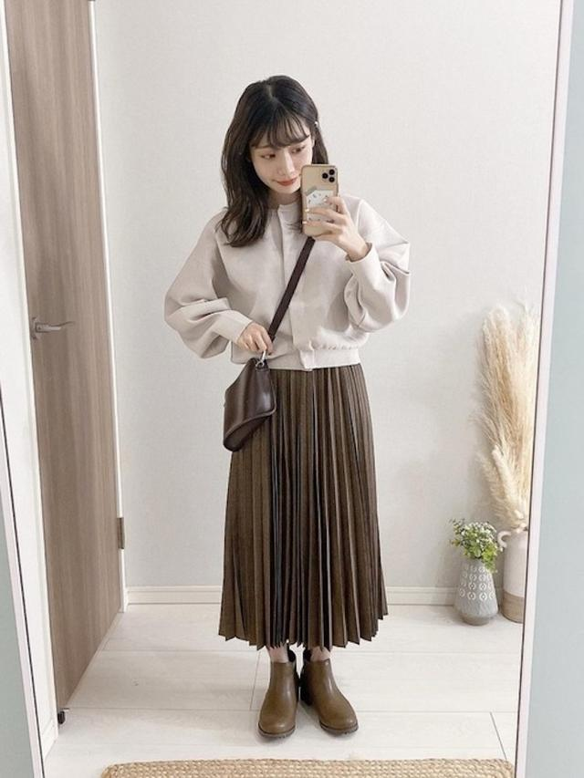 画像: 【ユニクロ】アコーディオンプリーツロングスカート(グレンチェック)¥3,289(税込) 出典:WEAR