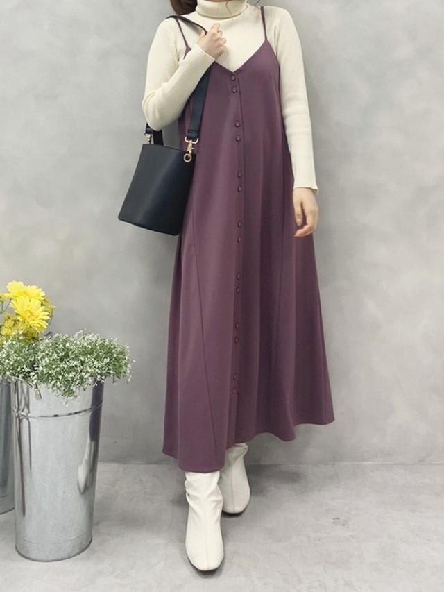 画像: 【natural couture】ワンピース¥3,861(税込)トップス¥1,881(税込)ブーツ¥5,390(税込)バッグ¥4,950(税込) 出典:WEAR