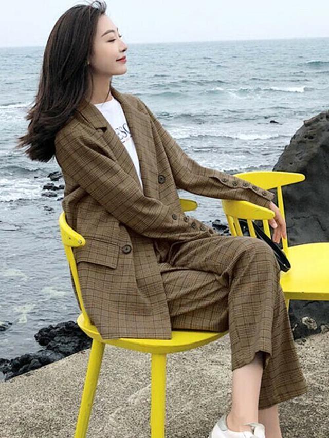 画像: 【DAY CLOSET】レディース 秋色グレンチェック柄ミディジャケット+パンツ セットアップ上下2点セット¥9,800(税込み) 出典:WEAR