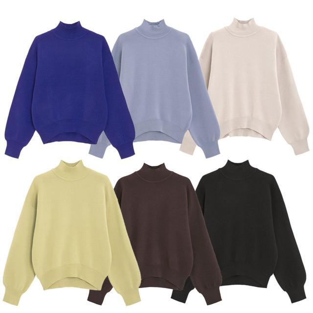 画像: 「スウェットライクハイネックセーター」各¥2,189(税込)