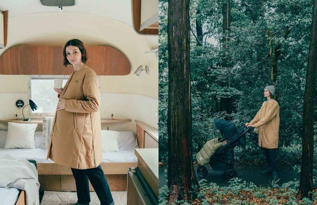 画像: 『マタニティベントリックスカーディガン』30000円 通気性・ストレッチ性に優れた生地と中綿を採用し、衣服内のむれを感じにくい仕様。シルエットの調整ができ、産前から産後まで着用可能。