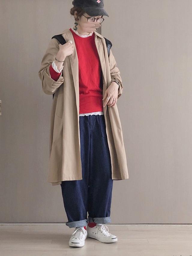 画像: 【UNIQLO】ニット¥3,289(税込)【Ordinary fits】パンツ¥16,280(税込)【DANTON】キャップ¥6,380(税込) 出典:WEAR