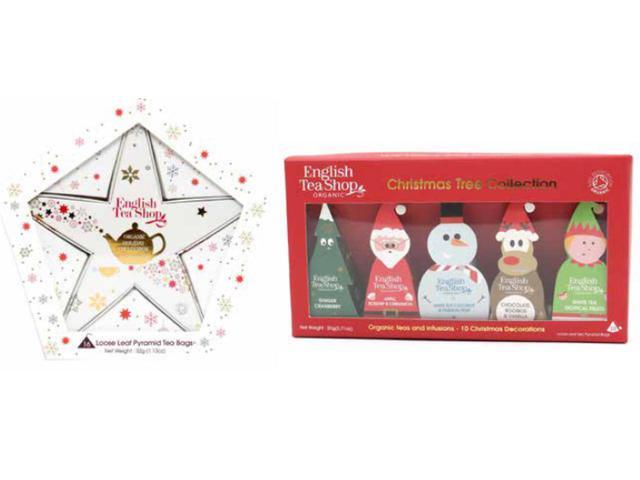 画像: 【イングリッシュティーショップ】<左から>「レッド&ゴールドスターギフトパック」32g 16袋 ¥1,944(税込)「クリスマスキャラクター」20g 10袋 ¥1,944(税抜) 出典:senken trend news