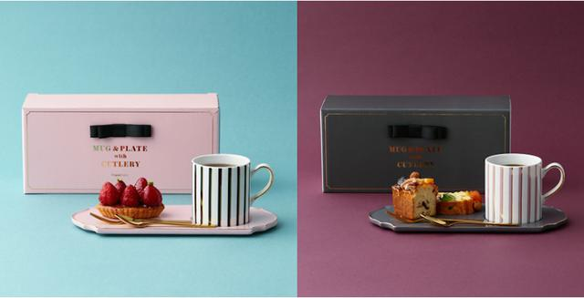 画像: 「マグ&プレート ウィズ カトラリーセット」各¥2,000(税込)ピンク・ダークグレイの2色展開 出典:Francfranc