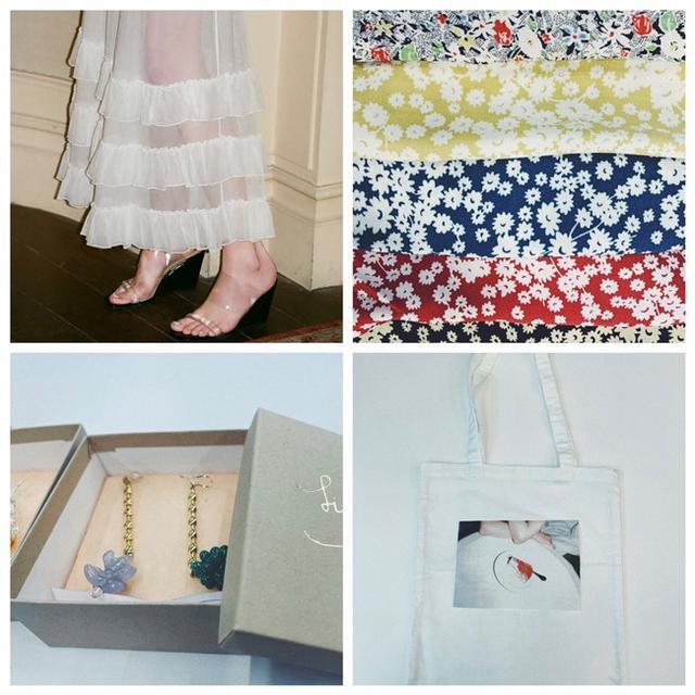 画像: <右上から時計回りに>フラワーバイアスマキシスカートの5柄、フォトトートバッグ、1点ものピアス、新作ドレスのイメージカット 出典:エディット フォー ルル