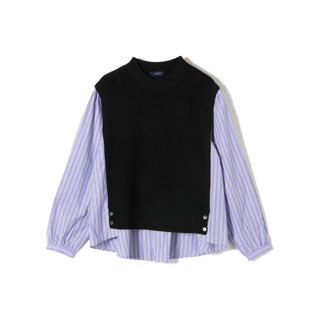 画像: 【SHIPS WOMEN】ニットコンビシャツ¥15,950(税込) 出典:fashion trend news
