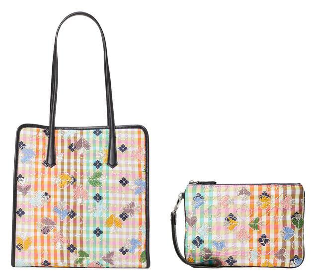 画像: スペード刺繍シリーズ:bella plaid tote ¥80,300(H33xW31.5xD14.5cm) / bella plaid small pouch writelet ¥49,500(H15xW21.5cm) 出典:ftn