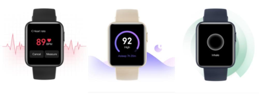 画像: 左から心拍数モニタリング、睡眠モニタリング、呼吸トレーニングの画面 出典:Mi Watch Lite