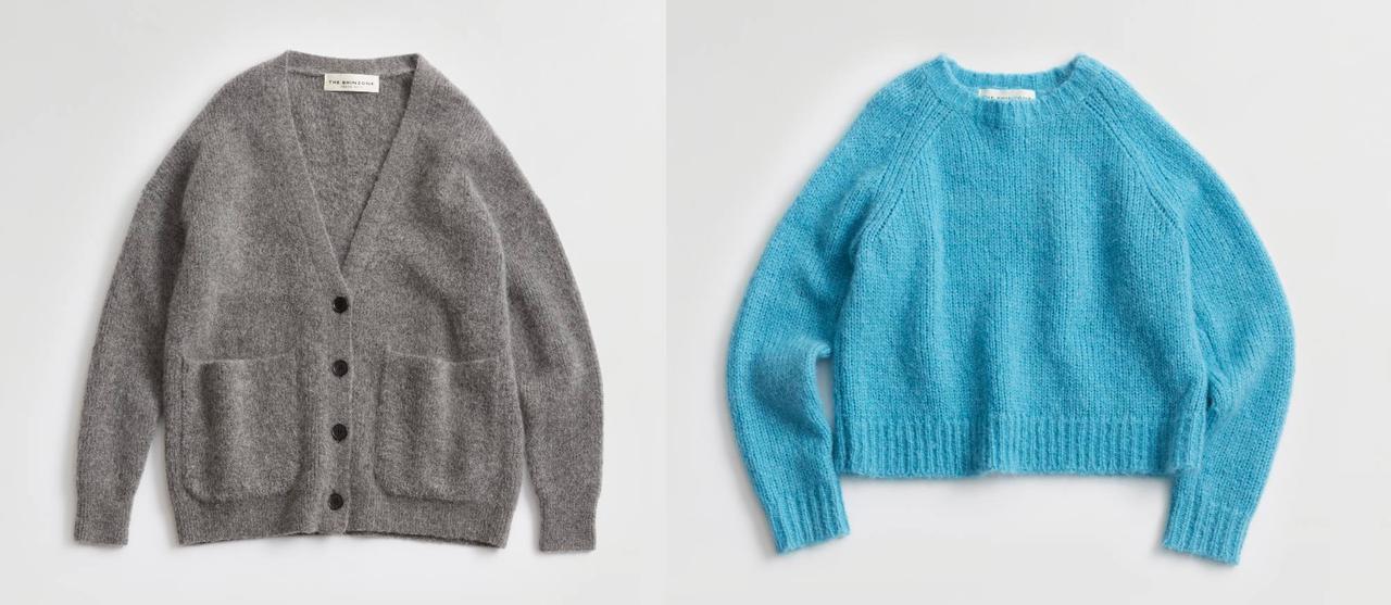 画像: 左から「MOHAIR V-NECK CARDIGAN」¥42,900※10月発売予定、「MOHAIR PULLOVER」¥25,300※11月発売予定 出典:シンゾーン
