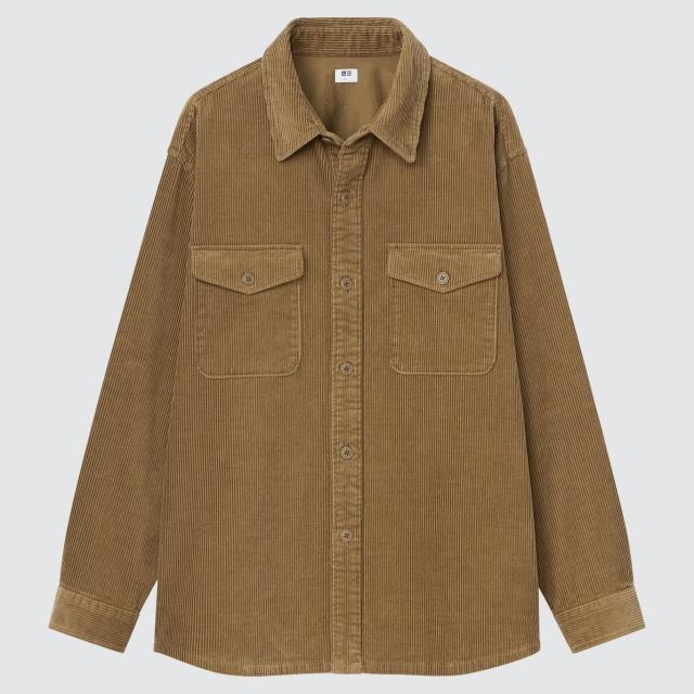 画像: 「コーデュロイオーバーサイズワークシャツ(長袖)」(ブラウン)¥2,990 出典:ユニクロ