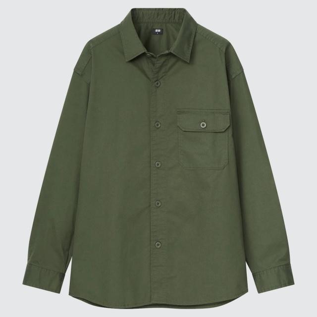 画像: 「ストレッチツイルオーバーサイズシャツ(長袖)」(オリーブ)¥2,990 出典:ユニクロ