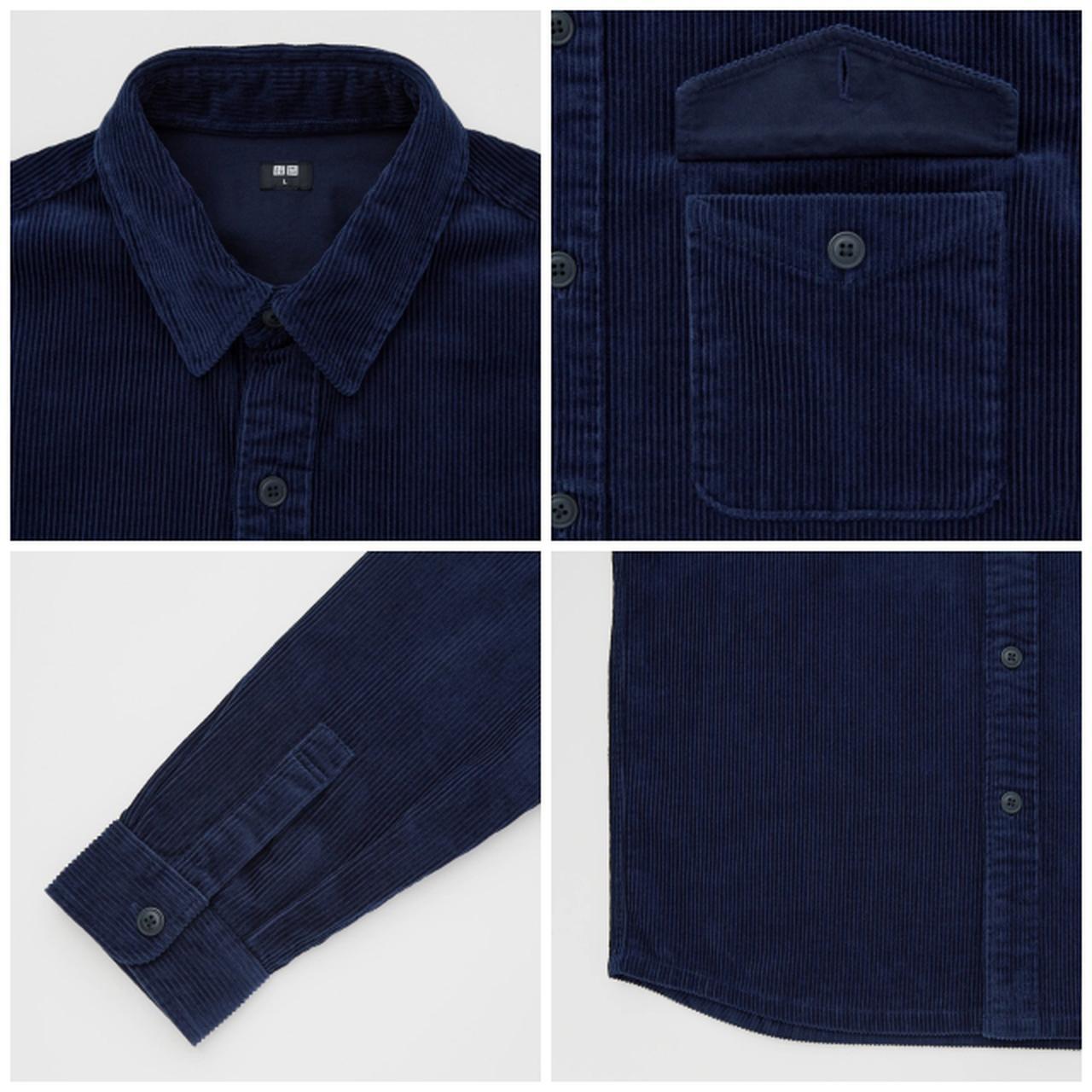 画像: 「コーデュロイオーバーサイズワークシャツ(長袖)」(ブルー)¥2,990 出典:ユニクロ