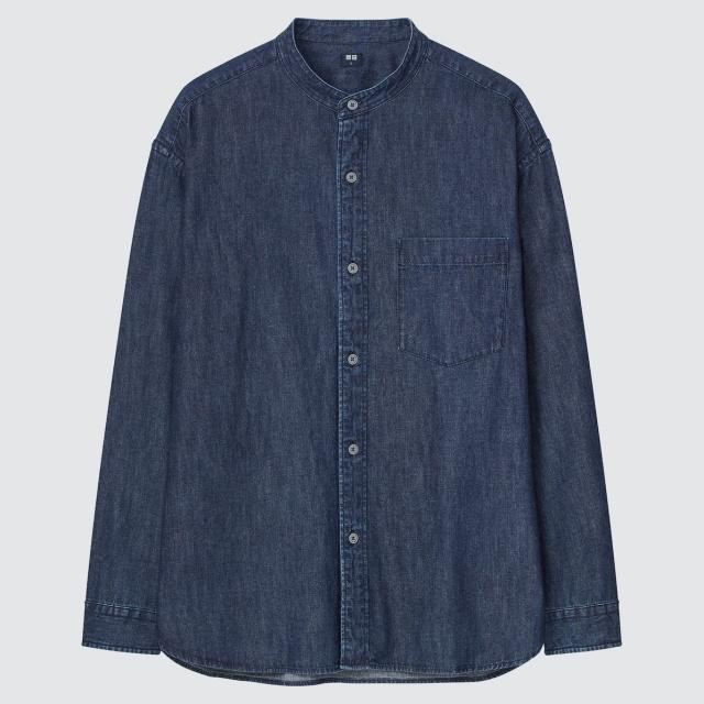 画像1: 「デニムオーバーサイズスタンドカラーシャツ(長袖)」(ネイビー)¥2,990 出典:ユニクロ