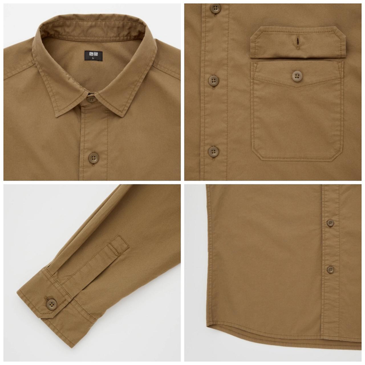 画像: 「ストレッチツイルオーバーサイズシャツ(長袖)」(ブラウン)¥2,990 出典:ユニクロ
