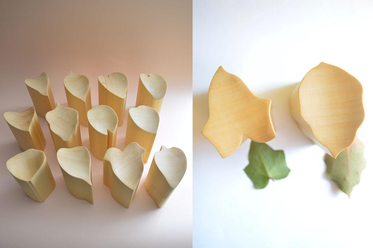 画像: 一つ一つ形が違う、ヒバの無垢材で作られた櫂。