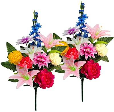 画像: ユリ と りんどう と 小菊 の花束