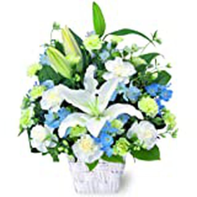 画像: お供え お悔み 法要 四十九日 生花 フラワーアレンジメント ユリ 入り L サイズ 高さ45cm (白+青紫系)