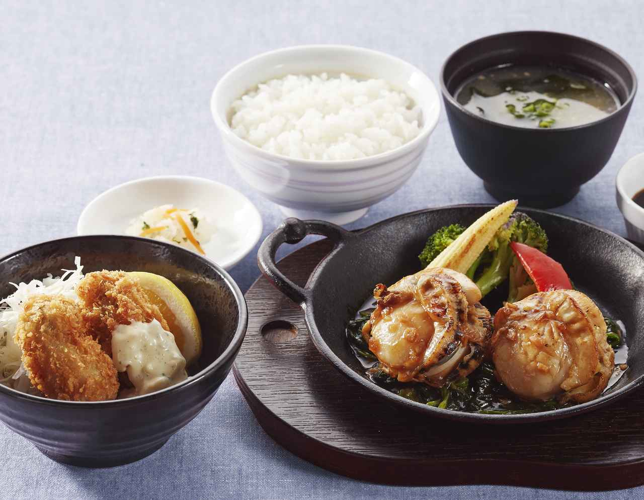 画像: 北海道産大粒帆立グリルと広島産牡蠣フライのよくばり御膳  1,499円