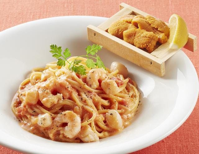 画像: 箱盛りうにと海老と小柱のトマトクリームスパゲッティ  1,199円
