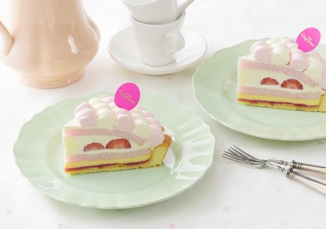 """画像: 商品名:「ストロベリーミルクタルト」[NEW] 価 格: 1個 ¥480(税込¥518) 販売期間: 2019年1月6日~3月3日頃 特 長: 苺風味スポンジで苺、ミルククリームをサンド、苺クリームとミルククリームで仕上げた、""""苺ミルク""""をイメージしたケーキです。苺クリームのほど良い甘酸っぱさとミルククリームのまろやかさが見事なハーモニーを奏でます。"""
