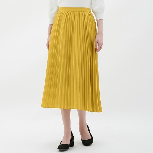 画像: きれいめ透かしプリーツスカート+デニムジャケット