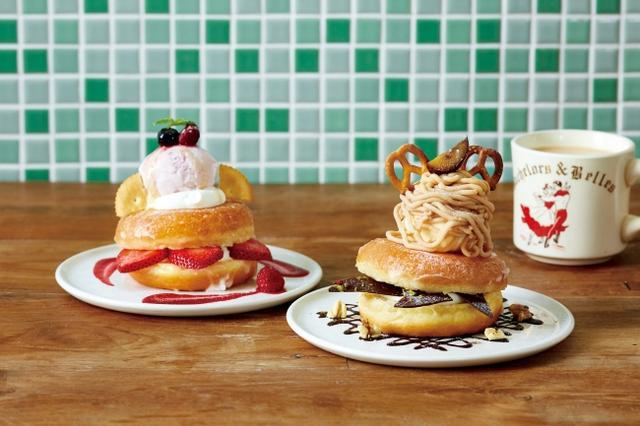 画像: 「シュガードーナツパフェ ストロベリービスケット」(左)、「シュガードーナツパフェ モンブランショコラ」(右)