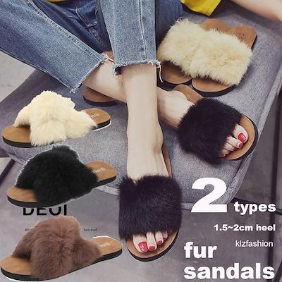画像: [Qoo10] fur sandals : シューズ