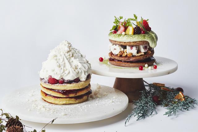 画像: 左)ホワイトクリスマススノー、右)クリスマスグリーンリース