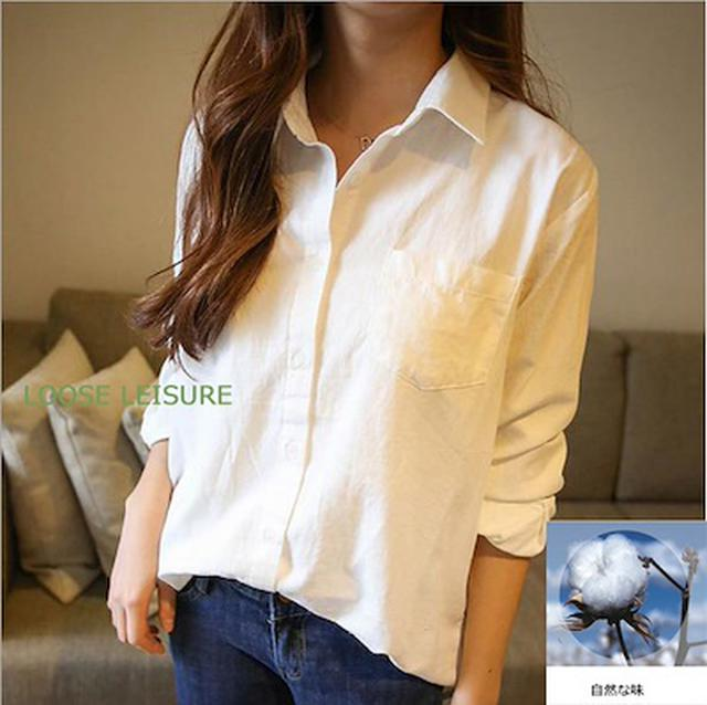 画像: [Qoo10] 白いシャツの女性 : レディース服