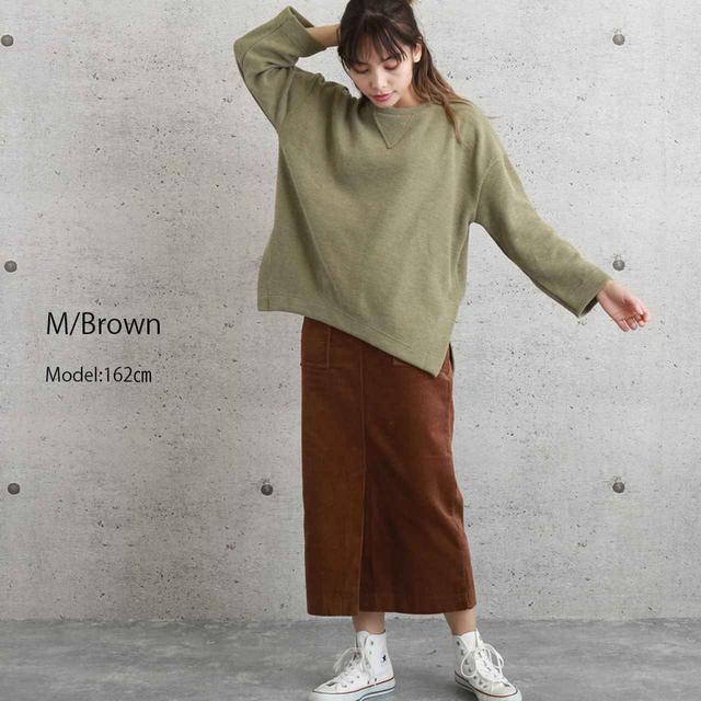 画像2: ブラウンのロング丈スカートが秋らしい